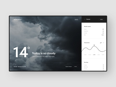 #50.1 Shots for Practice ui ux app weather black minimal minimalism rain dark application platform animation video transition interaction interface chart movie webapp design