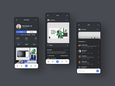 #1 - IG. Dark mode concept. ui ux app mobile instagram social media profile post black dark ig iphone android application interface feed gallery list followers follower