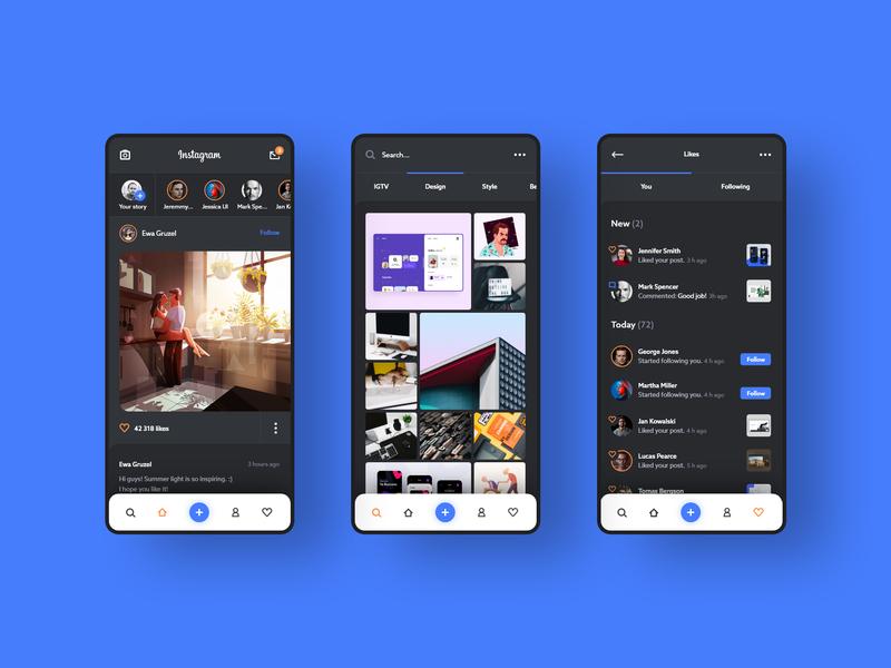 #2 - IG. Dark mode concept. follower followers list gallery feed interface application android iphone ig dark black post profile social media instagram mobile app ux ui