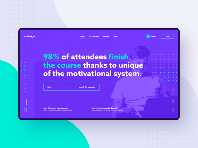 #1 - Codenga. E-learning platform. teaching courses welcome screen minimalistic clean modern flat purple landingpage webapp app platform programming course learning elearning homepage website ux ui
