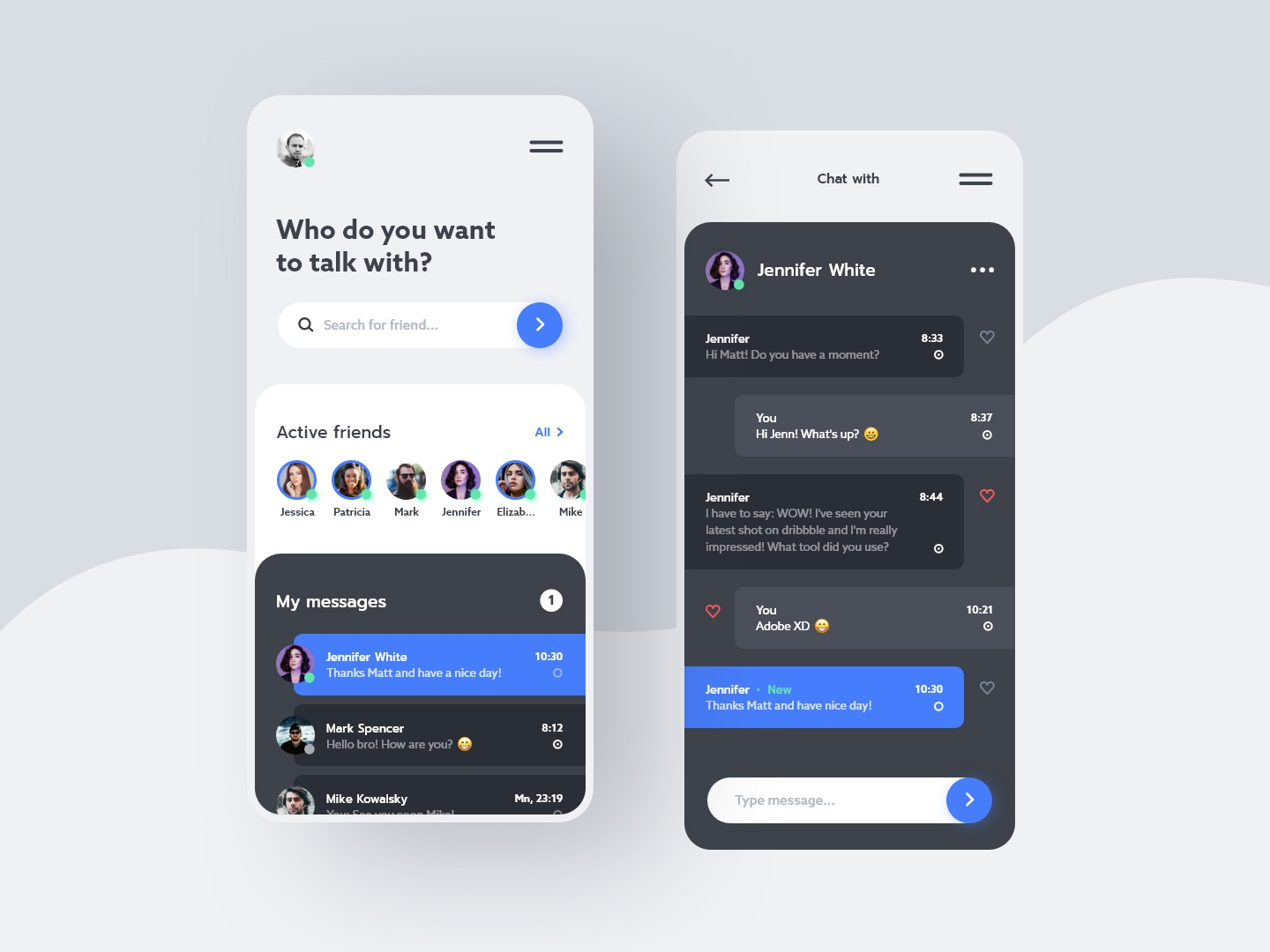 #14 ChatWithMe - Mobile App Concept design phone android iphone screen blue dark white clean minimal conversation talk messenger message chat application app mobile ux ui