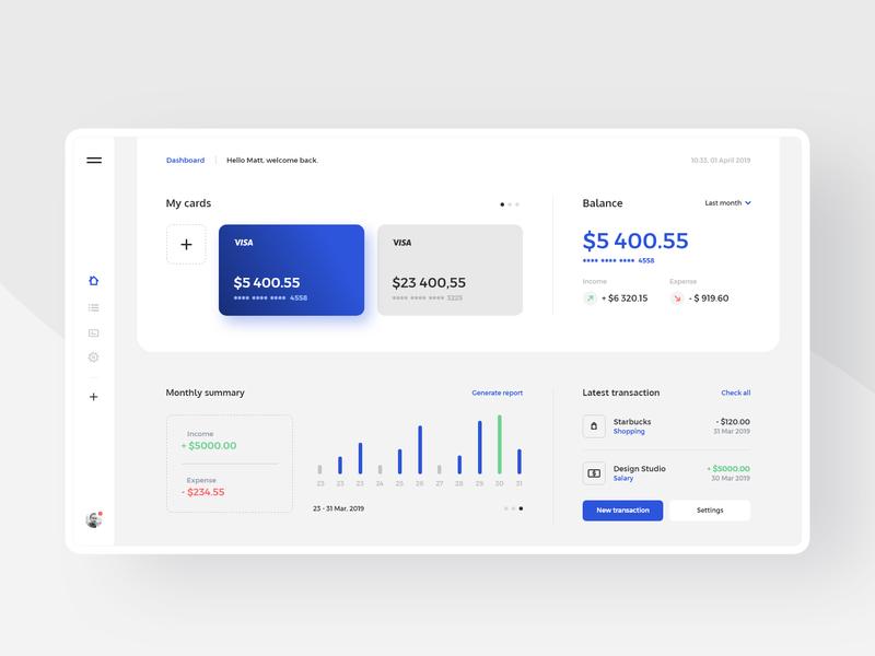 #16-2 BankApp - Desktop App Concept ui ux flat minimalism app clean finance balance money bank cash bank card credit card card mobile iphone android ios financial wallet