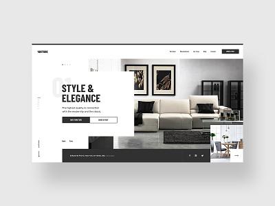 #1 4niture - Homepage p1 table chair couch style adobe xd minimalistic minimal elegance luxury store typography furniture slider minimalism flat homepage design website ux ui