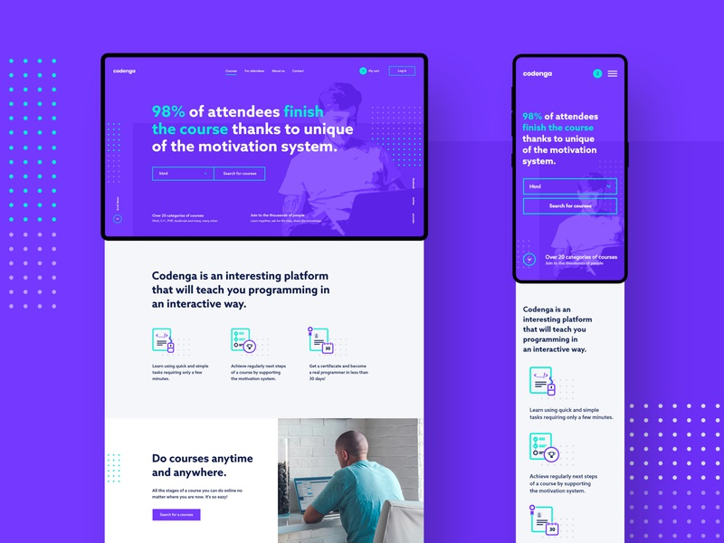 #4 - Codenga. E-learning platform. webapp website ux ui purple programming teaching modern platform learning landing page homepage flat elearning responsive mobile courses course clean app