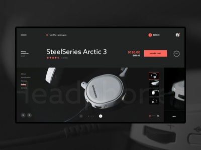 #8 Photo & Design computer web product contrast typogaphy black dark steelseries earphones headphones gear esport gaming ecommerce shop slider store website ux ui