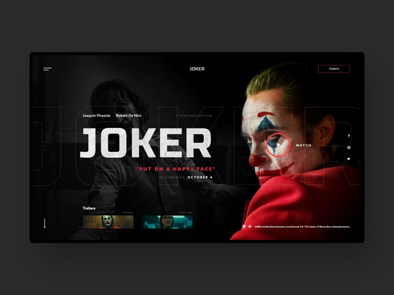 JOKER (#59 Shots for Practice) web trailer face black concept hbo netflix imdb film theater cinema movie batman joker dark homepage design website ux ui