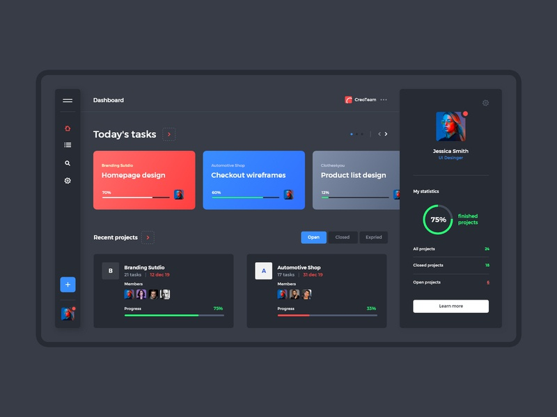 #17-3 TaskApp - Mobile App Concept night mode dark mode webapp list projects project task list tasks team manager web application task manager task app minimalism flat design ux ui