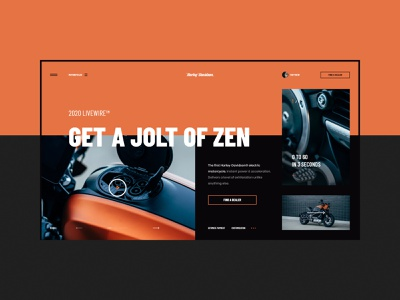 #70 Shots for Practice minimalistic automotive harley davidson harley concept black orange web motorcycle motorbike graphic flat homepage design website ux ui