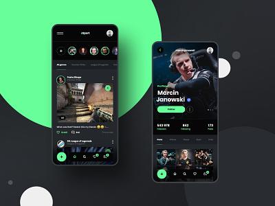 #19 Esport Social Media - MobileApp Concept green cs lol clean post feed wall like game player platform socialmedia profile gaming esport application app ux ui