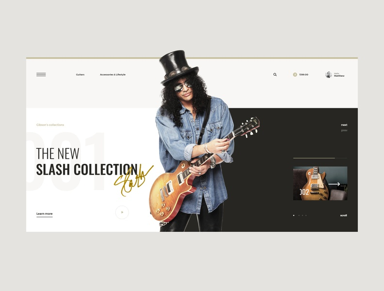 #76 Shots for Practice design shop ecommerce store web light modern clean minimalism flat homepage typography gibson instrument music guitar website slash ux ui