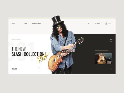 #76 Shots for Practice design shop ecommerce store web light modern clean minimalism flat homepage typography gibson instrument music guitar website slash ux ui