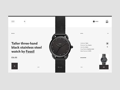 #78 Shots for Practice elegant luxury product black grey shop ecommerce store watch typography concept slider clean minimalism flat homepage design website ux ui