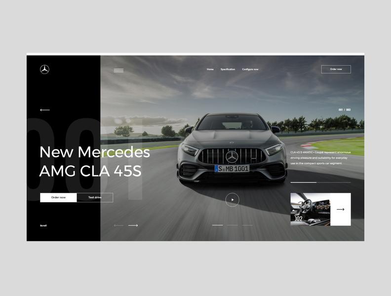 #79 Shots for Practice automotive web dark black vehicle car mercedes concept modern slider clean minimalism flat homepage design website ux ui