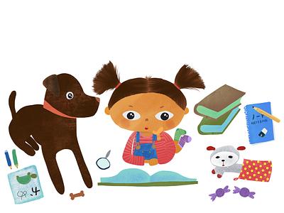 Reading Books labrador retriever girl