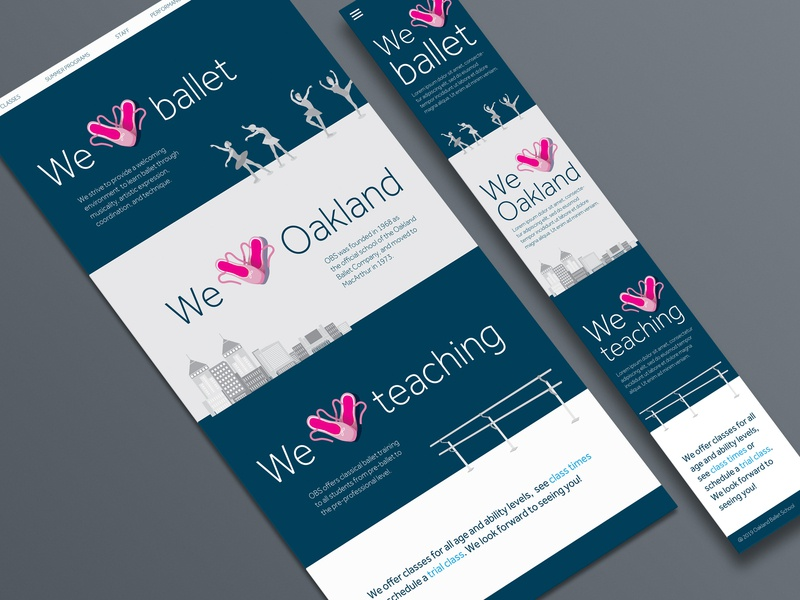 Oakland Ballet School website illustration design website branding