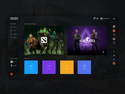 Dashboard Concept DOTA2 and CS:GO 👊 dashboard dark ui interface game ui colorful csgo dota2 game