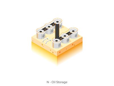 Oil Storage 3d isometry isometric energy storsge oil character letter n