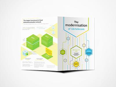 "Bifold Brochure – PJSC ""Ukrtelecom"" graphic design minimal lite infographic infographics visualization data telecommunications brochure bi-fold bifold"