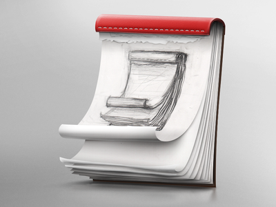 Sketchpad photoshop illustration sketch progression leather stiches paper block drawing