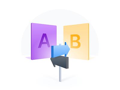 A/B Testing Explainer sign vector 3d ui bee landing page illustration