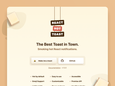 React Hot Toast butter open source landing page toast