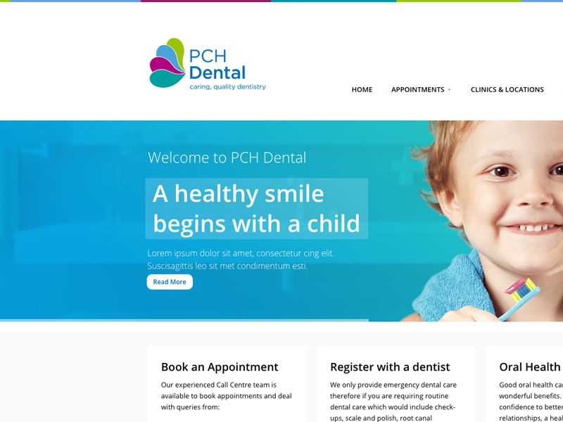 PCH Dental smile together private dentistry design website