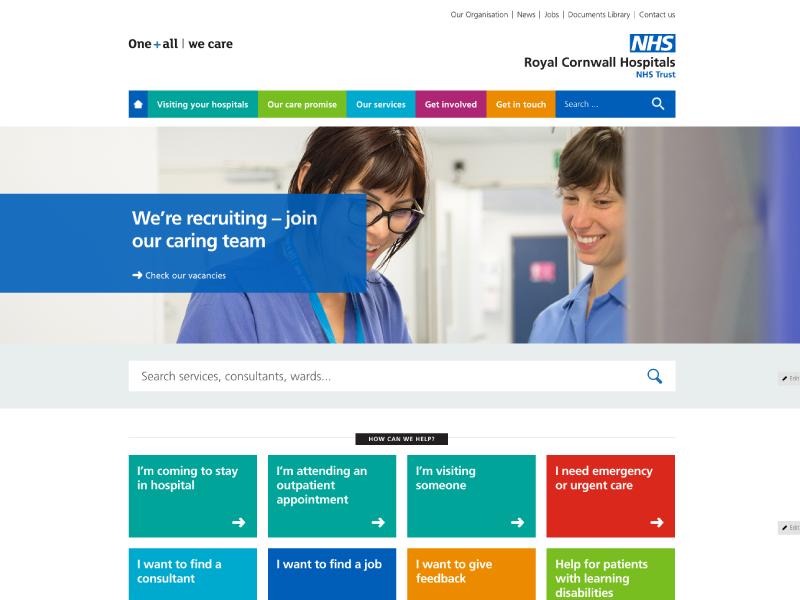Royal Cornwall Website identity branding colour design nhs health websites