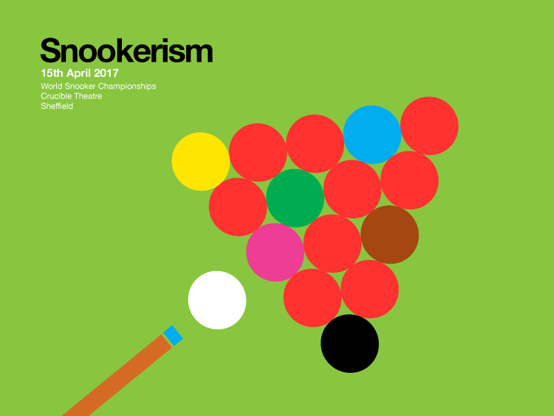 Snookerism crucible illustration design colour balls tip cue world champs snooker