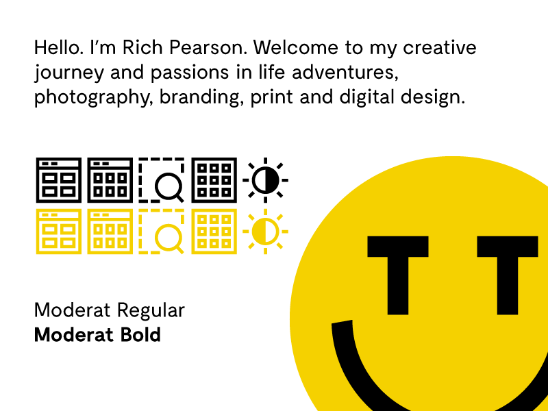 Icons and Type moderat perfect pixel yellow type icons design vector illustrator