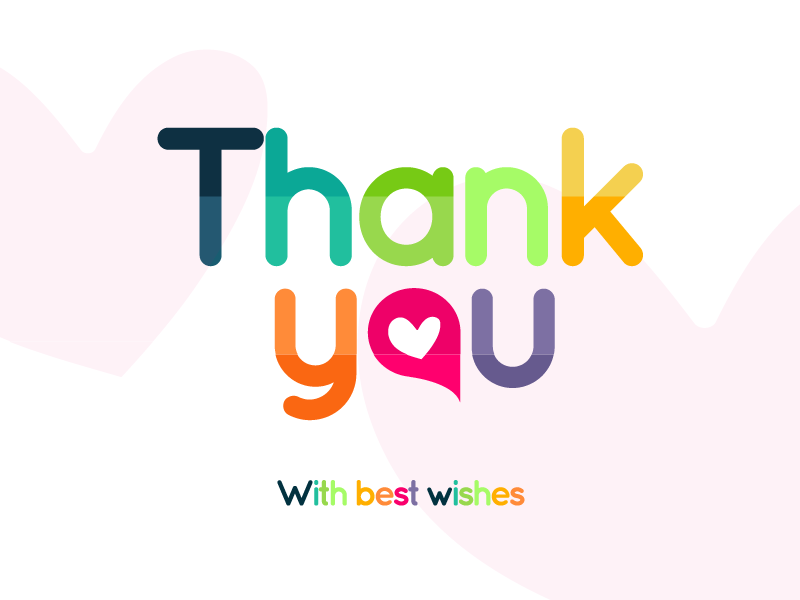 Thank You Card best wishes thank you colours design illustration