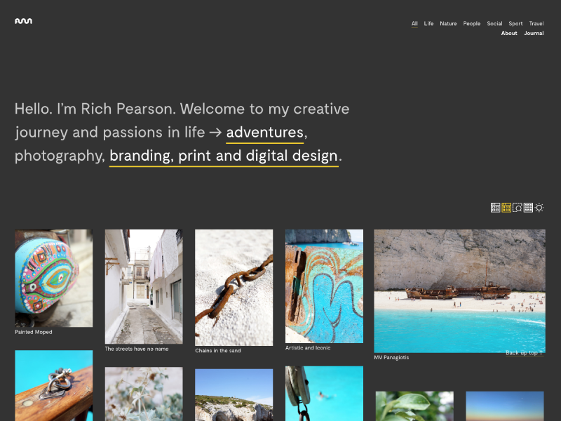Contrasty contrast six photography images portfolio website design toggle