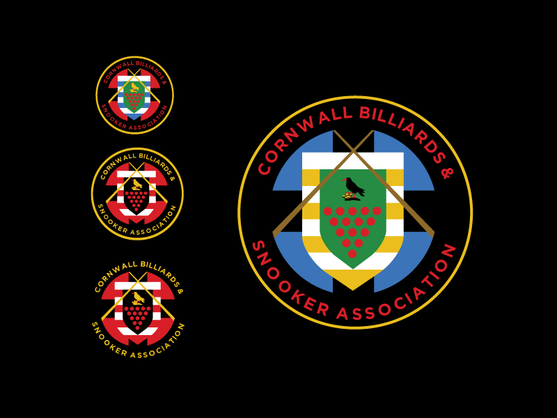 Cornwall and Billiards Snooker Association badge club branding logo design