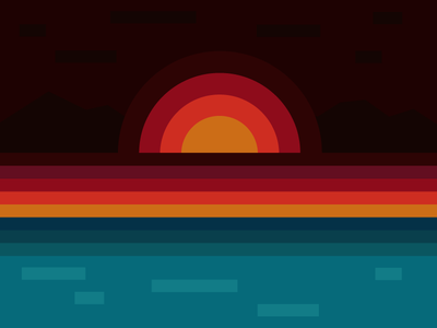 Cornwall Sunset illustration design colours sunset cornwall