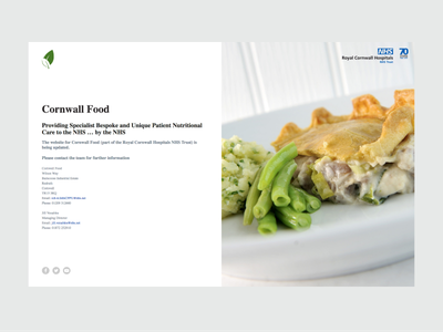 Cornwall Food Holding Page branding web design cornwall food care health nhs