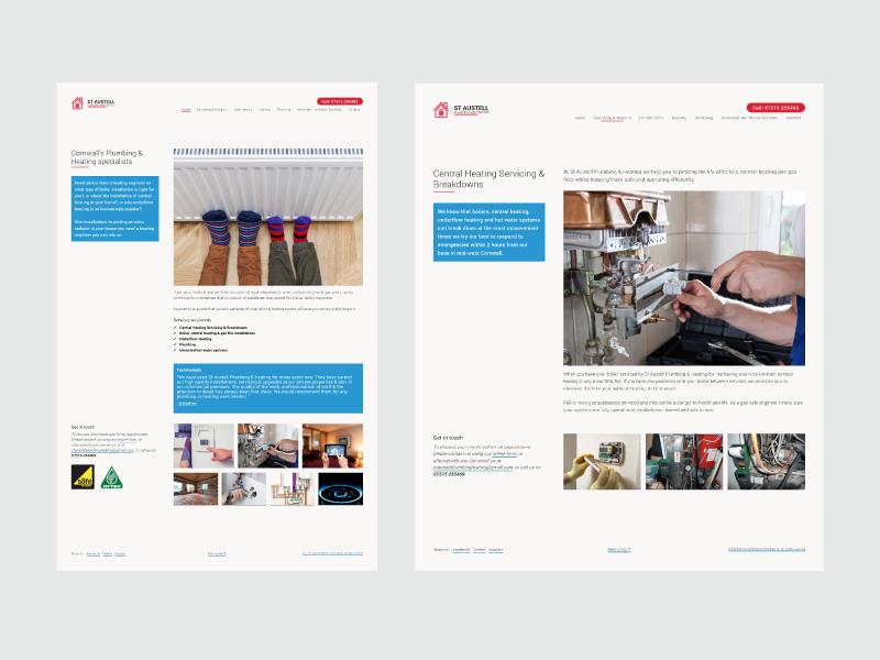 St Austell Plumbing and Heating design branding website heating plumbing