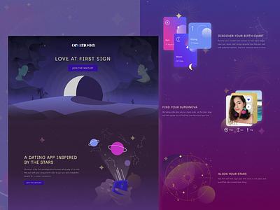 Oromoon Landing Page moonlight website love dating astrology landscape web ui animation branding stars night moon illustration design