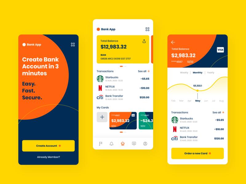 Bank App line graph finance app finance bank app bank card banking app banking dark orange freebie free ui free ui kit uiux ux  ui bright color branding ui flat dark app bank