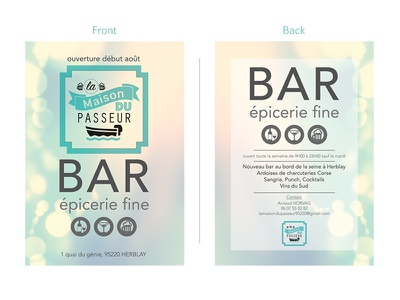 Flyer logo epicerie bar invitation cover flyer