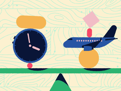 Balance shapes flight booking travel texture wood airline time compare scales balance clock airplane aircraft plane 2d
