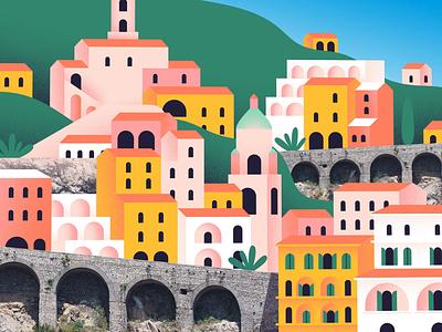 Amalfi coast 2danimation 2d cutouts mixed media photo buildings houses tour travel vacation destination tourist hotel seaside hill italy house coast