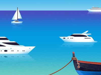 Blue sea & clear sky ocean summer destination vacation mixed-media seaguls clear sky sky birds sunset sun sailboat cruise ship cruise yacht boats boat water blue sea