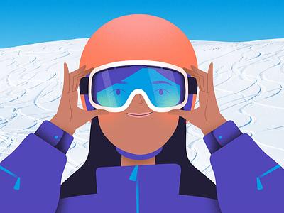Snowboarder slope sport vacation winter mixed-media photo mountain ski resort helmet snow alps character girl woman goggles ski goggles snowboarder snowboard skier ski