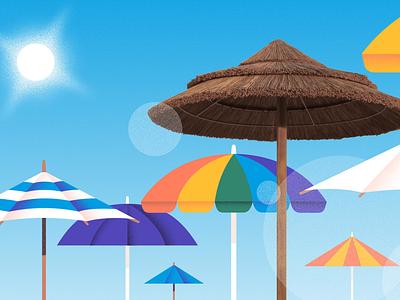 Beach umbrellas variety animation sun tan tan rainbow lens flare flare clear sky sky sun shade shade mixed-media photoshop colorfull sun beach umbrellas umbrella beach