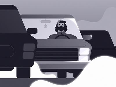 Traffic jam beard glasses cap guy dude illustration 2d loop gif animation old smoke car character 90s grayscale gray trafficjam traffic