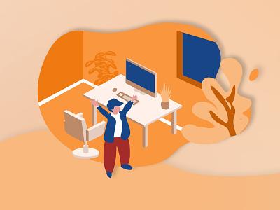Happy Work work vector interaction design interaction ui illustration graphics design direction artistique