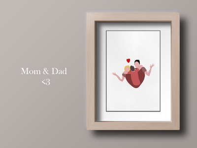 Mom & Dad thanks moments dad mom typography vector illustration direction artistique graphics