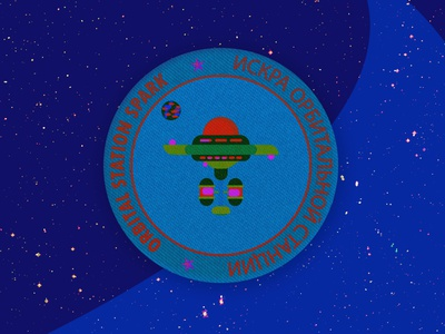 Orbital Station Spark badge typography planet mars logo vector illustration design direction artistique graphics