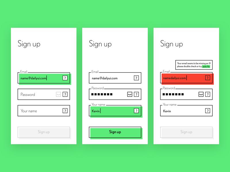 Sign up #DailyUI #001 sign up ux form validation ui minimalist dailyui