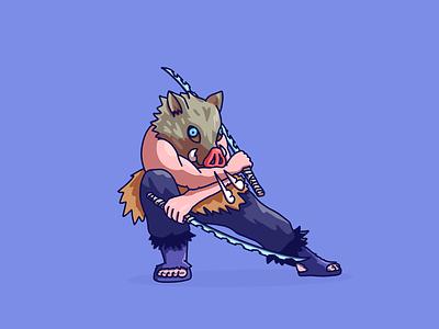 Demon Slayer Inosuke procreate illustrator design graphic design fan art vector illustration