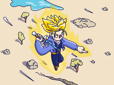 Trunks toon procreate cartoon character lineart character design flat design drawing illustration